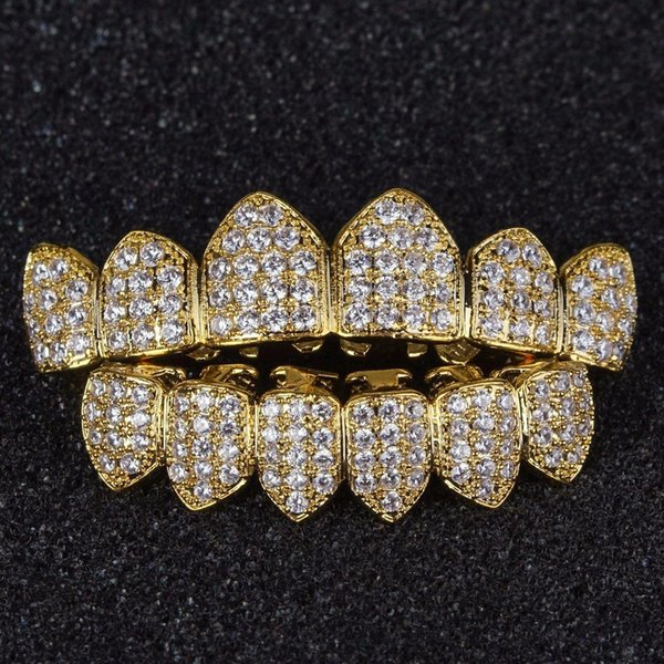 Hip Hop Grills Pure Gold Color Plated High Quality Tooth Grill Micro Pave CZ Top & Bottom GRILL Mouth Teeth Grills Sets #HOP21