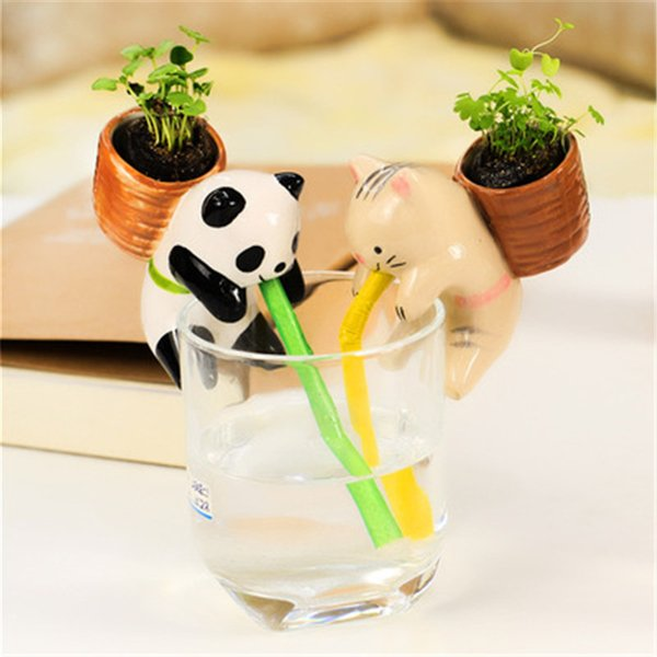Ceramic Animal Shaped Self Watering Potted Plant Indoor Decoration for Home Office Desktop Decor Multi Style Mini