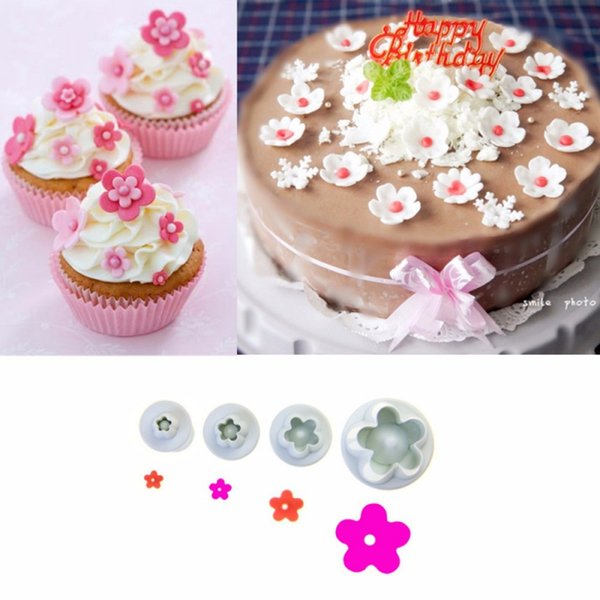 New 4 pcs Plum Flower Piston Cutter Mold Sugar craft Fondant Cake Decoration DIY Tools