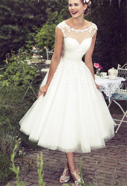 Lace Tea Length Beach Wedding Dresses 2019 Vintage Sheer Neck Ivory Tulle A Line Country Style Short Bridal Gowns