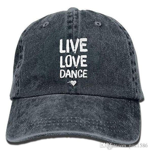 pzx@ Live Love Dance Premium Cowboy Baseball Caps Trucker Hats Black