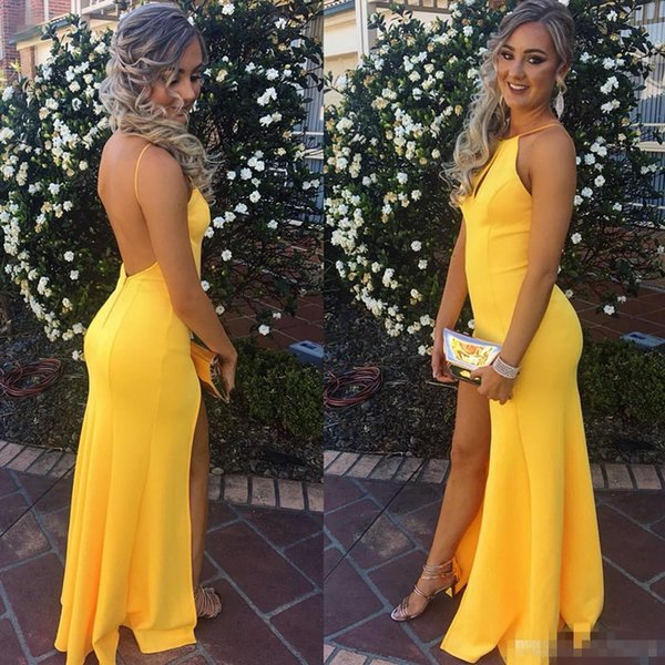 Cheap 2018 Yellow Mermaid Prom Dresses Sexy Backless Halter Neck Long Side Split Evening Gowns Hot Vestidos de festa