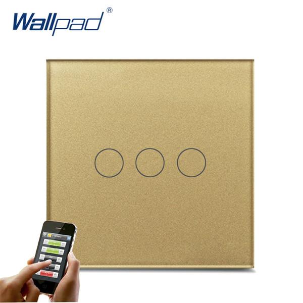 Compre 3 Gang Wifi Switch Wallpad Marco De Vidrio Templado De Oro Eu ...