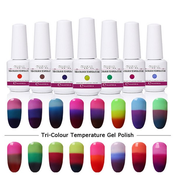 8ml Changing Gel Color Chameleon Nail Gel Polish Soak Off UV Gel Color Changed By Temperature Difference Perfect Match Mood Reaction 32Color
