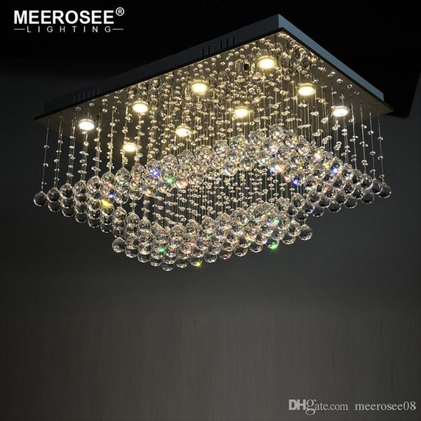 Good K9 Crystal Chandelier Light Fixture Rain Drop Rectangle Clear Crystal Techo Lustre de cristal para el hogar Hotel Deco