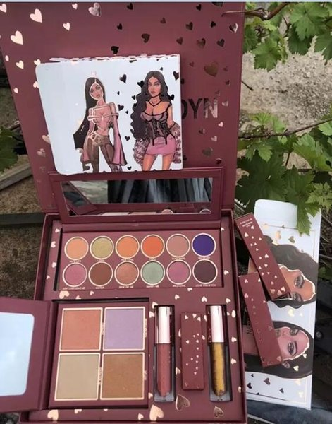 DHL free shipping Newest hot makeup set Brand K&J makeup full set wife life highlighter Eyeshadow palette Lip Gloss lipstick Cosmetics kit