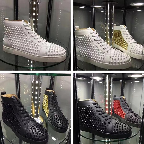 2018 Hot Sell Name Brand Red Bottom Sneaker Shoe Man Casual Woman Fashion Rivets High Top Men Dress Party Cheap Sneakers With Box