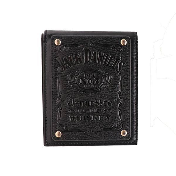 Jack Daniels, boys and girls fashion students personality short wallet leather wallet Men ' s old No 7 black Logo Wallet