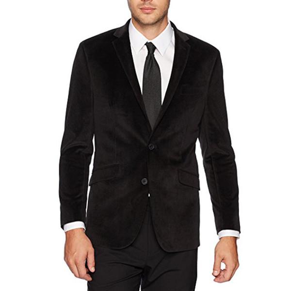 Abiti da uomo in velluto nero Abiti da uomo 2018 Vestibilità giacca a due pezzi con risvolto con risvolto Smoking da sposa su misura (giacca + pantaloni)
