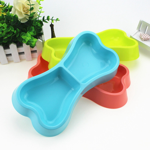 Cute Small Dog Bowl Plastic Pet Puppy Food Feeder Bone Shaped Cat Bowls Candy Color Water Container for Little Pets
