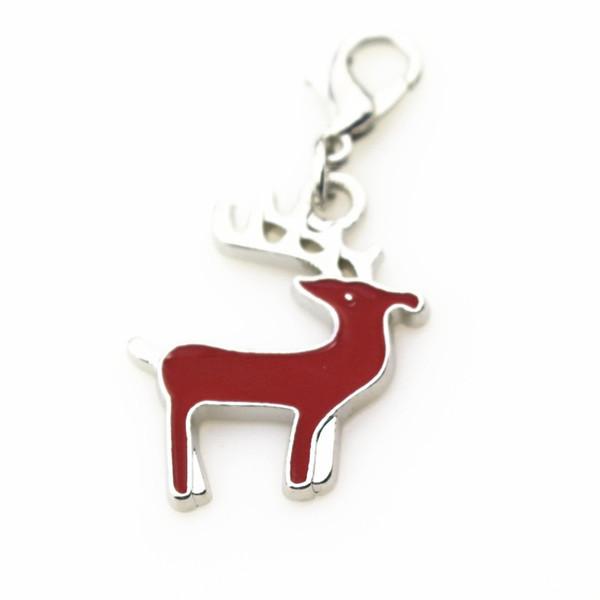 20 adet / grup kırmızı geyik yılbaşı charms istakoz kapat dangle charms DIY takı aksesuarları bilezik / kolye asılı