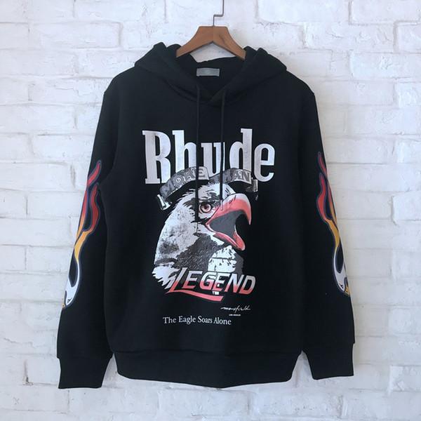 2018 En İyi Kalite Rhude Kartal Baskılı Kadın Erkek Hoodies Tişörtü Hiphop Streetwear Erkekler Kalın Hoodie Kazak Polar