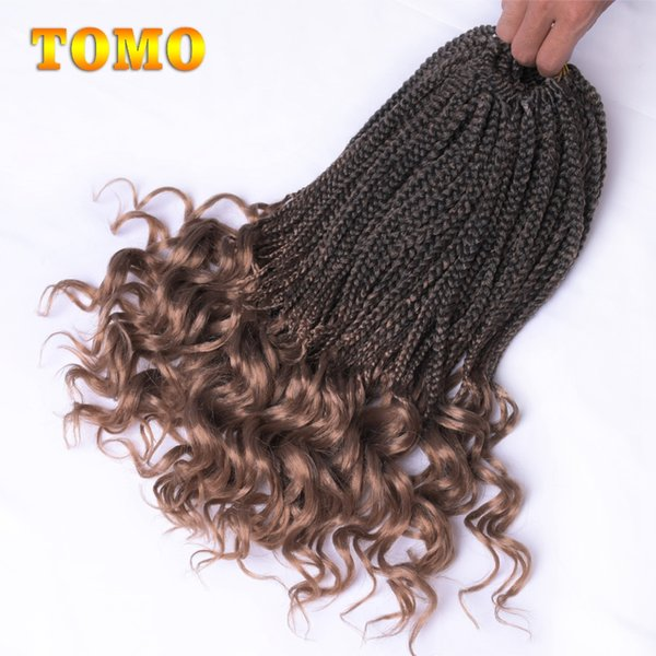 18Inch wavy Ends Crochet Box Braids Ombre Kanekalon Synthetic Braided Hair Crochet Braiding Hair Extensions For Black Woman 22Strands/pack