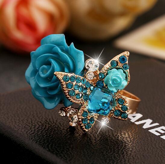 Rose anel de resina flor nacional vento strass borboleta anel retro liga boêmia anel ajustável frete grátis