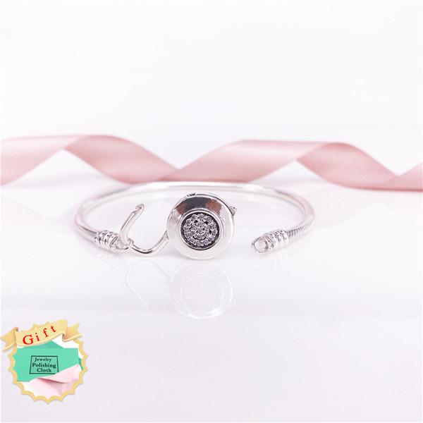 Moments Smooth Silver Signature Padlock Bracelet Authentic S925 Sterling Silver Clear CZ Fine Jewelry Women 597092CZ Bracelet