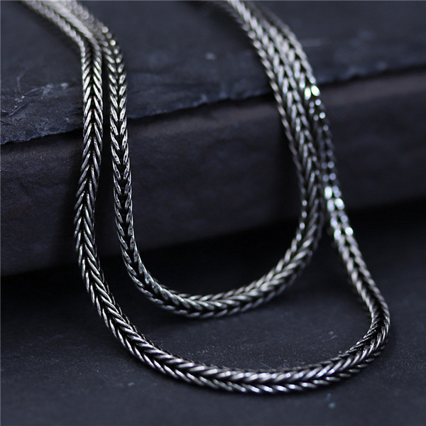 designer jewelry vintage 925 sterling silver Woven fox tail chain 1.5mm 45-75cm marcasite women's sweater chain mens chain china direct