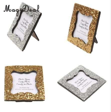 MagiDeal Shiny Sequin Small Photo Frame with Back Stand Wedding Party Gift Favor Gold/Silver Home/Cafe Decor