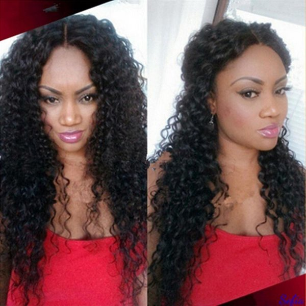 Kinky Curly Lace Front Human Hair Wigs-Glueless 150% Density Brazilian Virgin Remy Wigs with Baby Hair For African Americans Natural Color