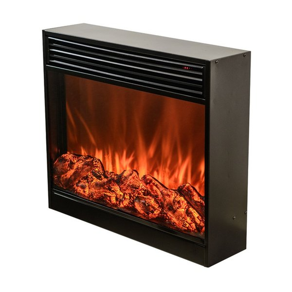 Power 1500W Embedded Electric Fireplace Insert Freestanding Steel Plate Heater w/Remote Control Glass View Log Flame Used As Bedroom, Livin