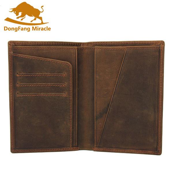 e3d22b867ad1 Crazy Horse Leather Bag Purse Retro Card Case Pack Long Passport Cover  Business Men Cowhide Travel Passport Holder Flat Wallets Womens Credit Card  ...