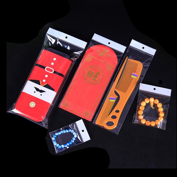 Mutil Sizes Clear 500 PCS OPP Autoadhesivo Bolsas de embalaje de plástico polivinílico con orificio para colgar Adhesivo Joyería Pendiente Anillo Almacenamiento Bolsa Bolsa de plástico