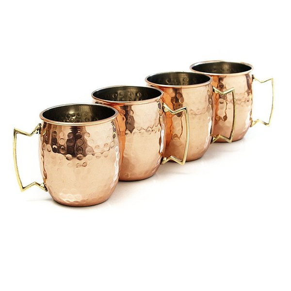 4PCS 550ml 18 Ounces Hammered Copper Plated Moscow Mule Mug Beer Cup Coffee Cup Mug Copper Plated Drinkware Cocktail special