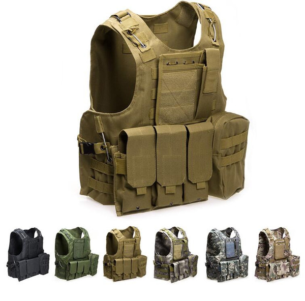 Airsoft Tactical Vest Molle Combat Assault Plate Carrier Tactical Vest 7 Colori CS Outdoor Abbigliamento Caccia Vest Spedizione Gratuita