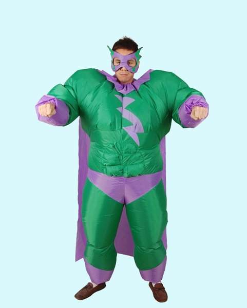 Inflatable Fat Superman Costume Carnival Cosplay Superhero Costumes Blow Up Fancy Dress for Halloween Party Show Clothes