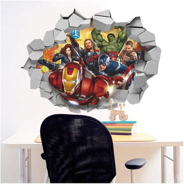 New Fashion The Avengers 3D wall stickers Waterproof PVC wallpapers can be removable boy bedroom living room background decor free shipping