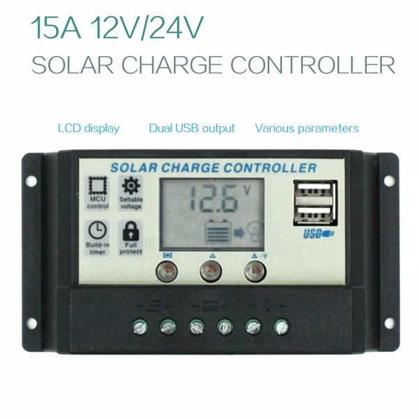 Cheap Solar Cells SUNYIMA 15A 12 24V Auto Solar Charge Controller Regulator Controller PWM With LCD 5V Dual USB For lead acid