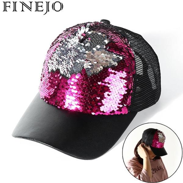 FINEJO Adjustable Color Baseball Change Paillette Gathering Hats Hat Mesh For Okdeals Snapback Fashion Party Sequins Club Caps
