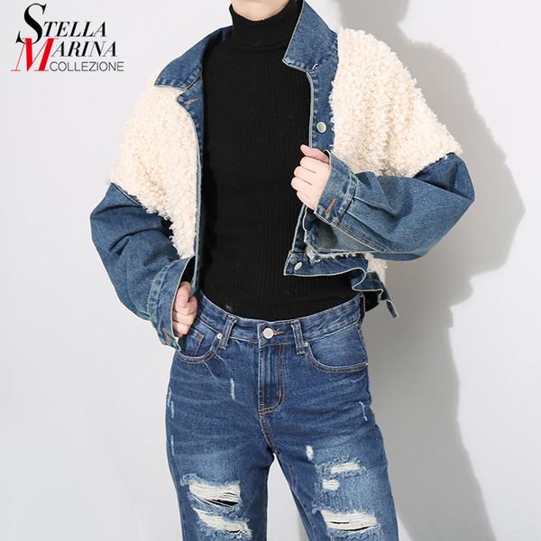 2018 Estilo Coreano Mulheres Azul Denim Curto Jaqueta Casaco de Manga Longa Único Breasted Desgaste Causal Feminino Jean Jaqueta Outerwear 4113