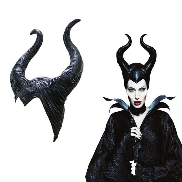 Hanzi_masks Halloween Cosplay Maleficent Witch Horns Hat Headwear Mask Headgear Helmet Party Black Queen