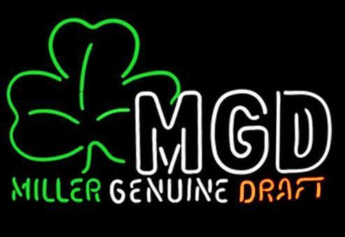 "Custom New Miller MGD Shamrock Real Glass Neon Sign light Beer Bar Sign Send need photo 19x15"""