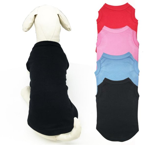 Dogs Apparel Pet T Shirts Summer Solid Dog Clothes Classic Shirts Cotton Clothes Dog Puppy Small Dog Clothes Cheap Pet Supplies a819