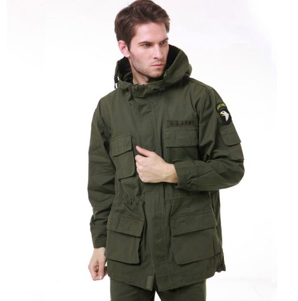 Men's Casual Trench US Army AIRBORNE Tactical Jacket Men Autumn Winter Cotton Multi Pocket camouflage Hoodie Coat