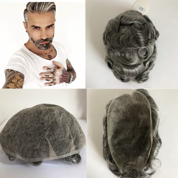 Swiss Lace Human Hair Mens Toupee 8x10 inch Natural Wavy Grey Synthetic Lace Toupees For Men Breathable Mens Hairpiece Replacement Systems
