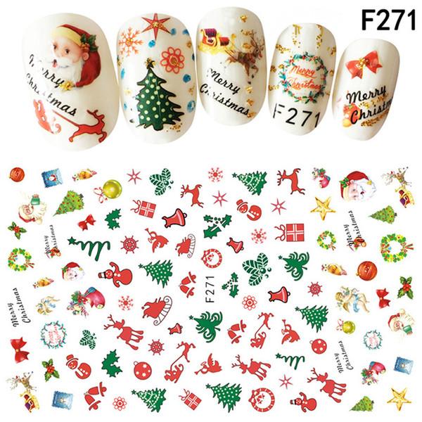 10 tipos de Navidad 3D Nail Art Stickers Copos de nieve lindos muñecos de nieve calcomanías de uñas
