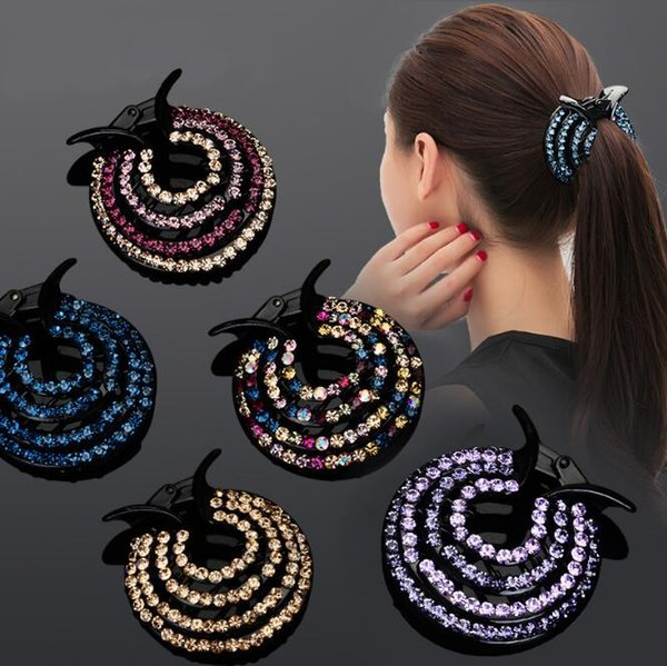 NEW ARRIVAL 12PCS/ Big Circle Round Plastic Hair Jewelry Claw Clamp Pin Clip Crystal Rhinestone Ponytail holder button