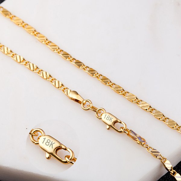 2MM Slim Women /Men Gold /Silver Color Necklace Link Chains 16 -30 inches Factory Men's Necklaces Jewelry X219