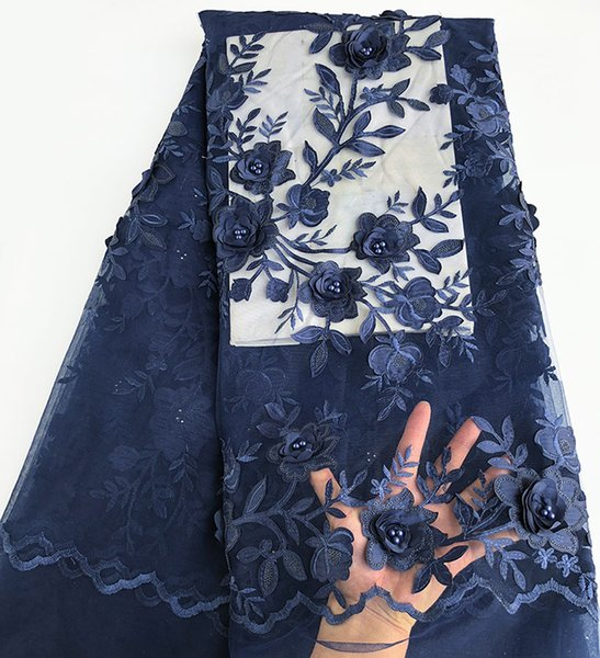 top popular Navy blue 3D Appliques French Lace African bridal tulle lace fabric with sequins beads for aso ebi important family events 5 yards 6279 2019