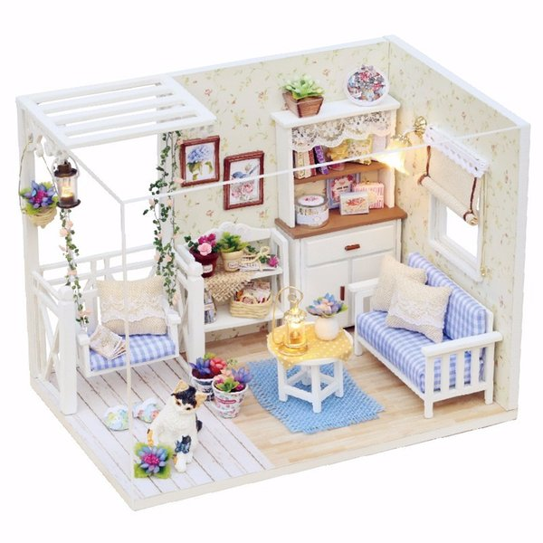 DIY Kit Kitten Diary 1/24 Dollhouse Miniature With LED Light Cover Wood Toy Doll House Room H-013 Children Kids Gift Decoration