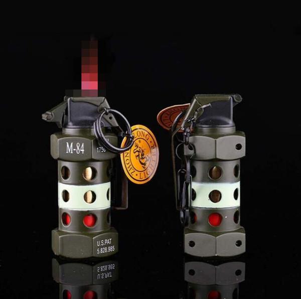 Modelo de granada de choque Em Forma de isqueiro De Metal Butano À Prova de Vento Jet Isqueiros Sem Gás Para Fumar Cigarro Ferramentas Da Cozinha