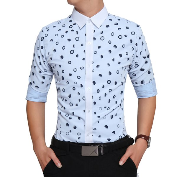 Brand 2018 Fashion Male Shirt Long-Sleeves High Quality Cotton Polka Dot Casual Shirt Mens Dress Shirts Slim Men XXL