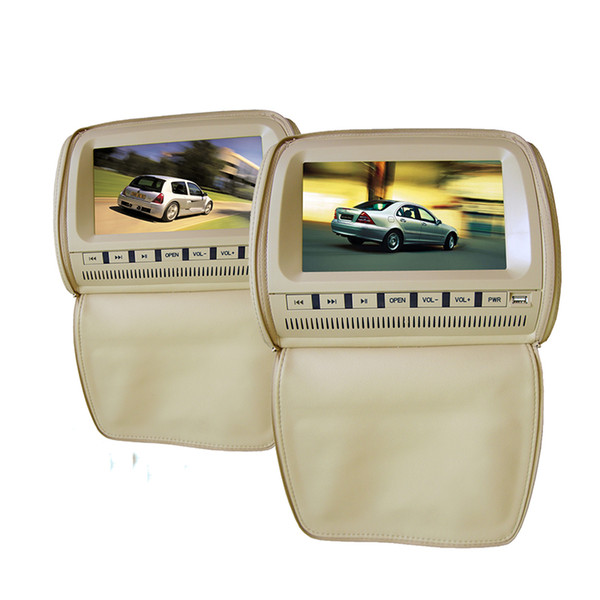 2PCS 9 inch leather tan car dvd player headrest back seat mount large dual screen 1080P Zipper cover USB SD FM IR game for kids