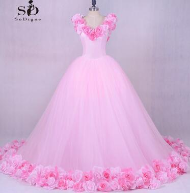 Wedding Dress Princess Luxury Pink Flowes Bridal Gown Romantic Lace-up Ball Wedding Gowns Newest Coming Tulle Gown