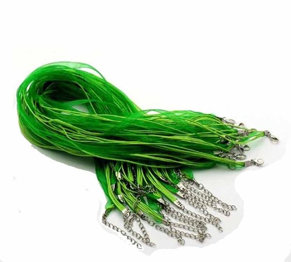 100pcs verde novo colar de cordão de fita de organza - fechos fazendo cadeias de descobertas