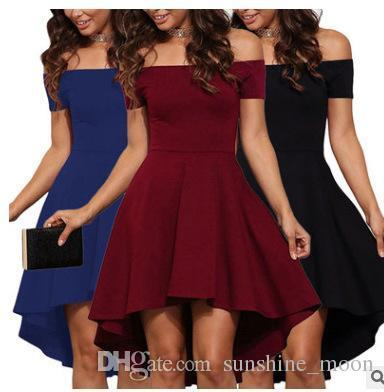 Suit-dress New Pattern Irregular Sexy Self-cultivation One Shoulder Short Sleeve Split Joint Solid Color Dress Clothing Ladies Dresses Woman