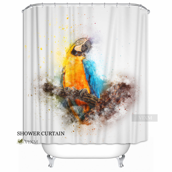 """Vixm Home Colourful Parrots Fabric Shower Curtain Beautiful Parrot custom Bath Curtain for Bathroom With Hooks Ring 72"""" X 72"""""""