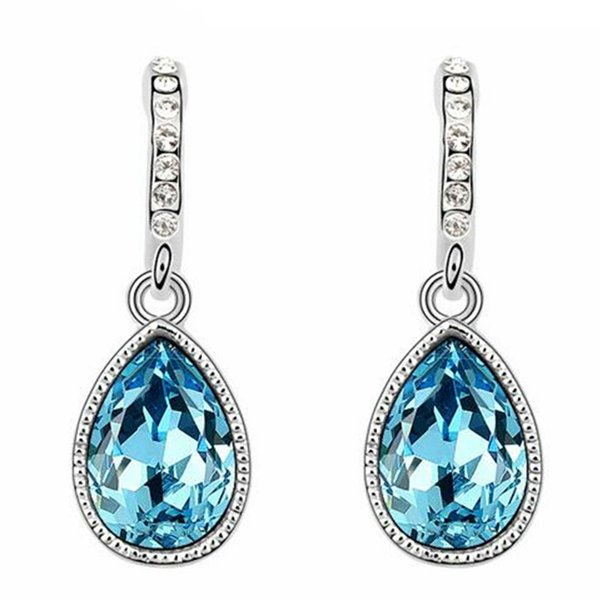 Water Drop Earrings Crystal from Swarovski Elements Women Fashion Jewelry Accessories Party Gift White Gold Plated 6384